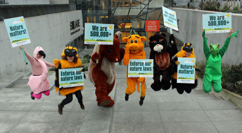 Giant animals tell EU environment chief: Save our nature laws!