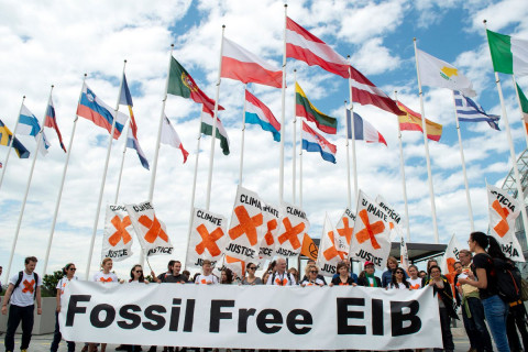 Fossil Free EIB - protesters in Luxembourg - (c) 350.org