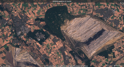 Hambacher forest and RWE coal mine - as captured by Sentinel2. Credit: European Union