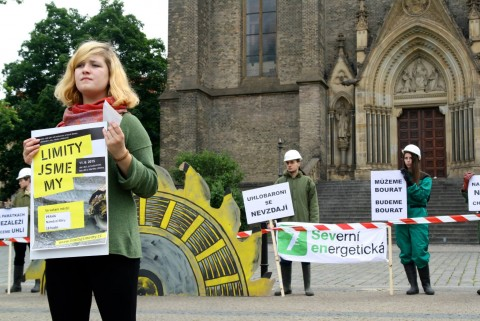 Standing for justice for coal-affected communities in Prague (c) FoE Czech Republic