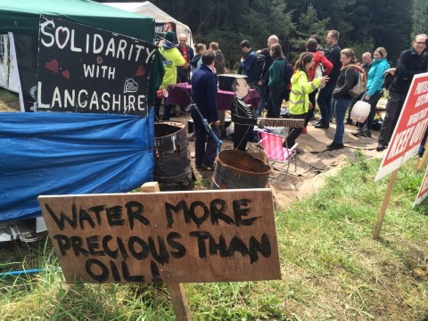 FoE directors hold anti-fracking protest at Woodburn forest, Northern Ireland