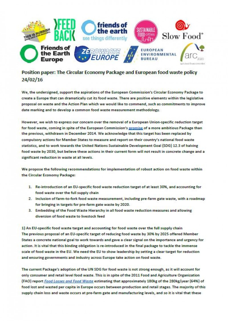 Position Paper The Circular Economy Package And European